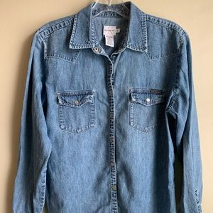 Calvin Klein Jeans Chambray Button front top Sz M